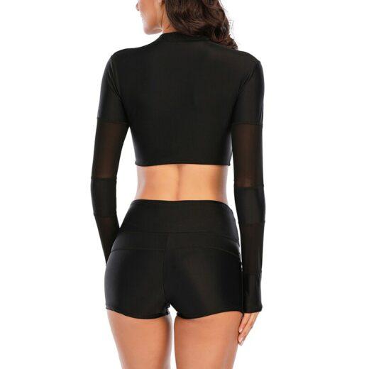 Riseado Black Bikini 2021 Sport Women's Swimsuit Long Sleeve Swimwear Zipper Bathing Suit Boyleg Beachwear Mesh Sexy Bikini Set
